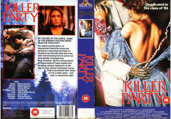 Killer Party (1986) on MGM/UA (United Kingdom Betamax, VHS videotape)