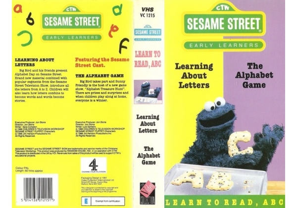 sesame street learning about letters vhs sesame learning about letters the alphabet 10883